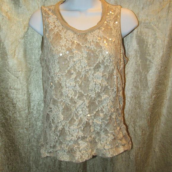 Floral Lace Beige Sequin Laura Ashley Tank EUC